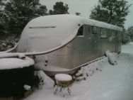catching water through snow in Spartan trailer in New Mexico