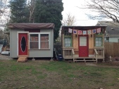 The studio and the cabin side by side