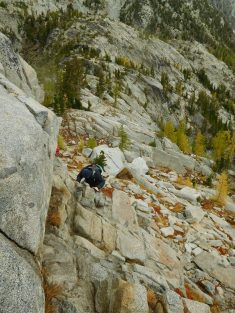Scrambling Down the Enchantments Basin