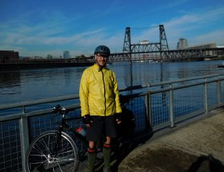 Me, in front of my favorite bridge in Portland