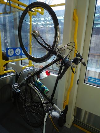 Bike hanging station on the train