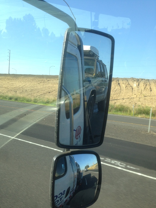 Our jeep in the rearview